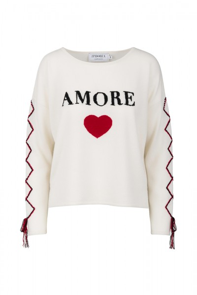 100% Cashmere Boxy Sweater - Amore White - Size 0 1