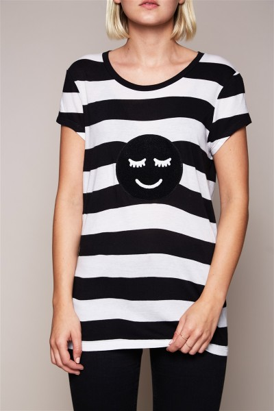 T-Shirt - Black and White Smiley Black Size 2 1