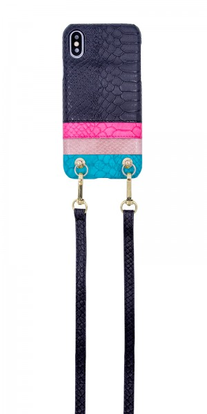 Necklace Strap Case With Card Slot for iPhone X/XS - Black to Blue with Black Strap 1