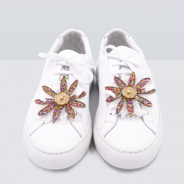 Acryl Sneaker Patches - Flowers Glitter Multicolor Pearl 1