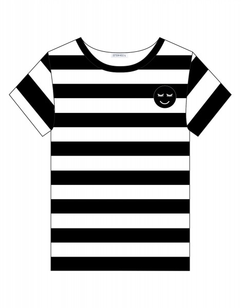 T-Shirt - Black and White Smiley Small Size 0 1