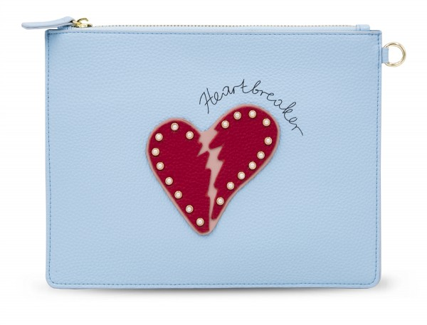 Document Pouch - Blue Heartbreaker Red Heart 1