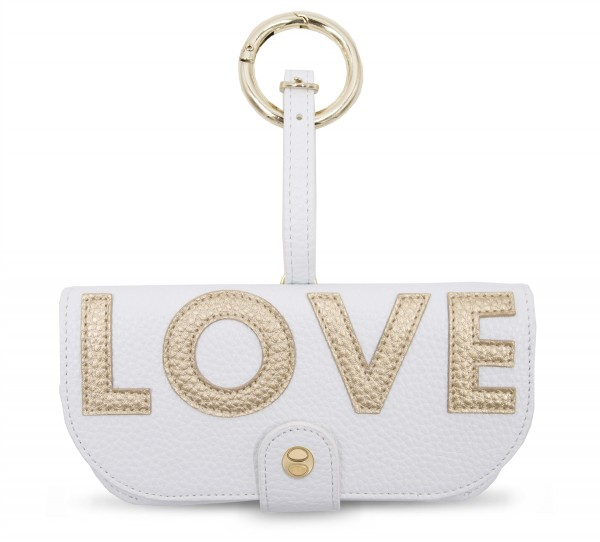Glasses Case with Bag Holder - White LOVE Gold 1