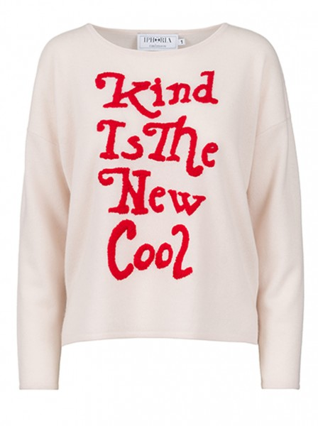100% Cashmere Boxy Sweater - White Kind Is The New Cool - Size 1 1