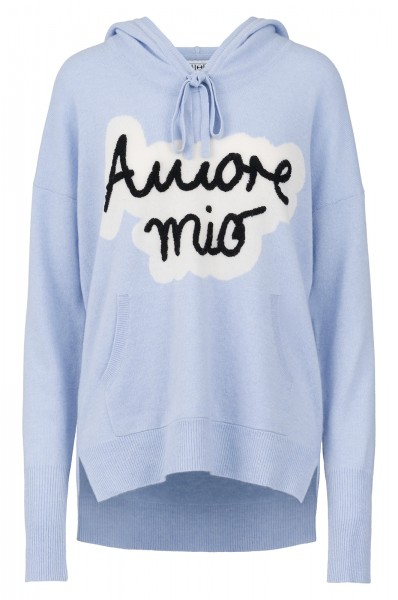 100% Cashmere Hoody - Amore Mio Blue - Size 1 1