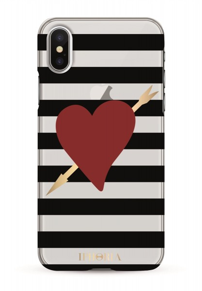 Case for Apple iPhone X/XS - Stripes Black and White Heart with Arrow 1