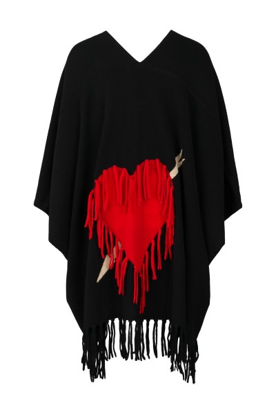 Cashmere Poncho - Black with Red Heart and Arrow 1