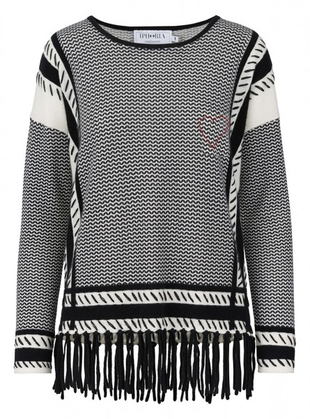 100% Cashmere Boxy Sweater - Keffiyeh Black - Size 1 1