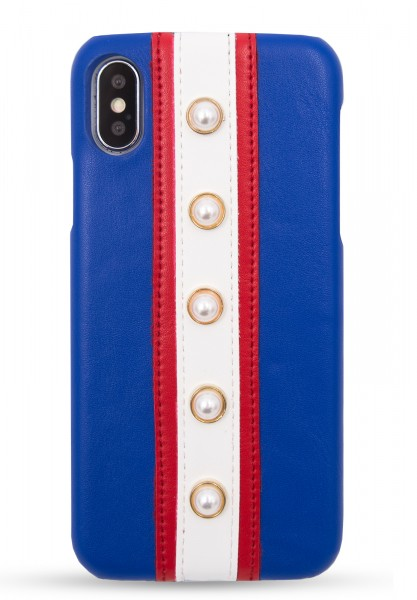 Veggie Leather Case for Apple iPhone X/XS - Stripes Blue and Pearls 1