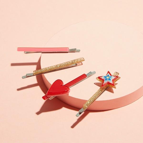 Hair Slide Set - Colorful Heart & Star 1