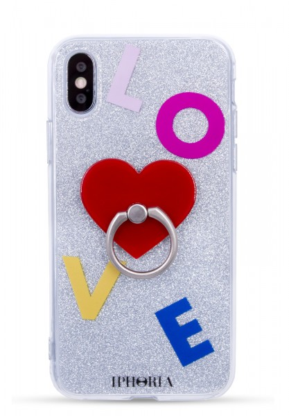 Case for Apple iPhone X/Xs - Ring Silver Glitter Red Heart  1