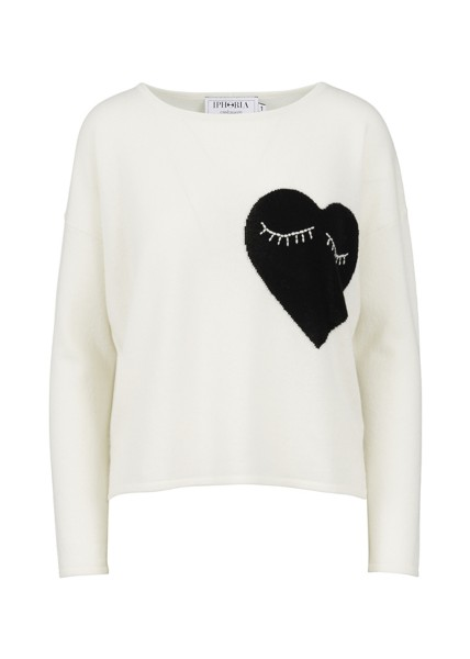 Cashmere Boxy Sweater - Black And White Iphoria Heart - Size 0 1