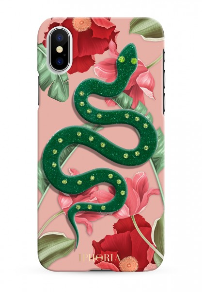 3D Case for Apple iPhone X/XS - Nude Flowers Snake 1