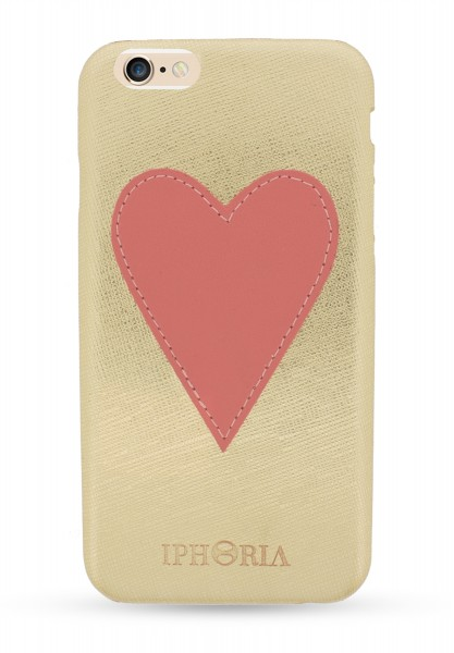 Pink Heart Patch Case Gold für Apple iPhone 6/6S/7/ 8 1