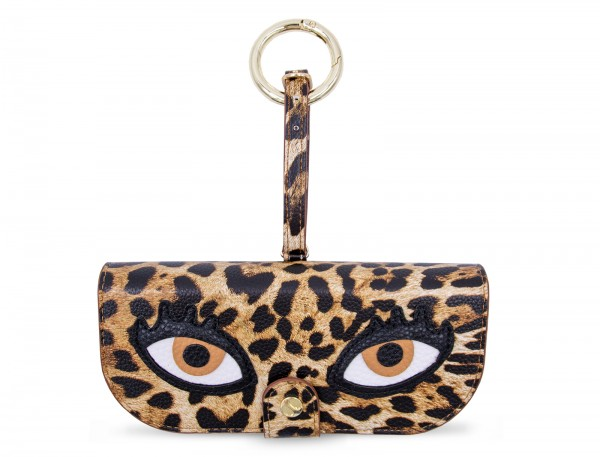 Glasses Case with Bag Holder - Leo Print with Eyes & hook in gold 1