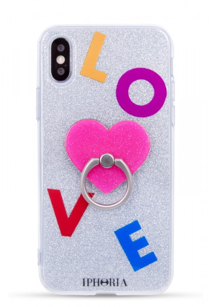 Case for Apple iPhone XsMax  - Ring Silver Glitter Pink Heart - 1