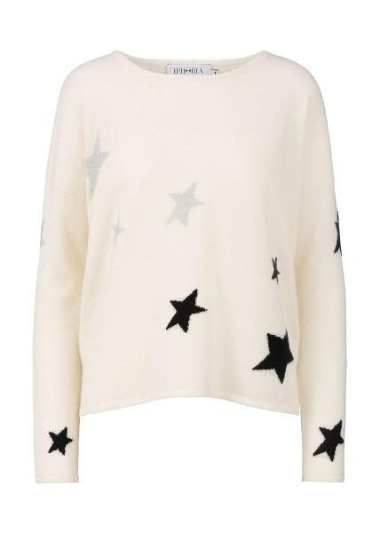Cashmere Boxy Sweater - White Stars Gold And Black Size 1 1