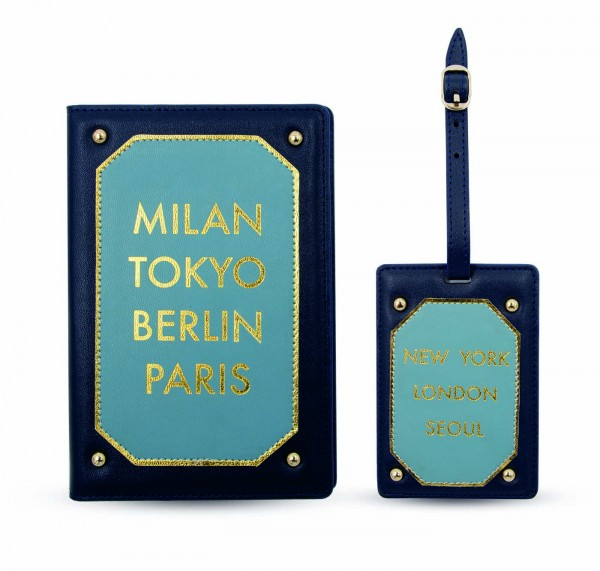 Travel Kit (Passport Holder - Luggage Tag) - Milan Berlin Tokyo Blue  1