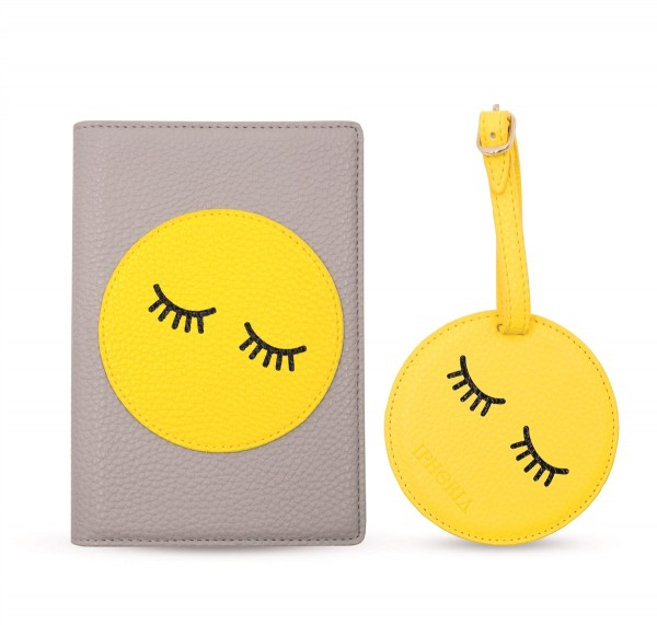 Travel Set with Passport Case and Luggage Tag Smiley 1