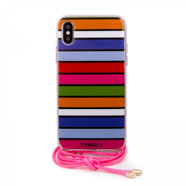 Necklace Case for Apple iPhone X/XS - Multicolor Stripes 1