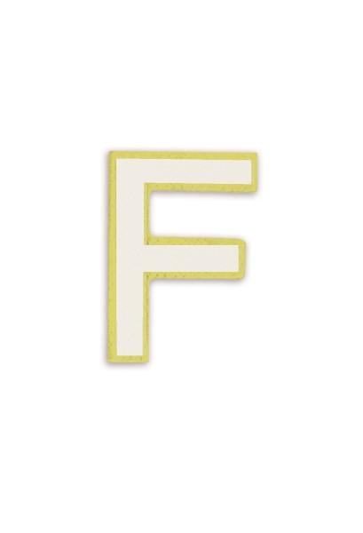 Ledersticker Letter F White 1