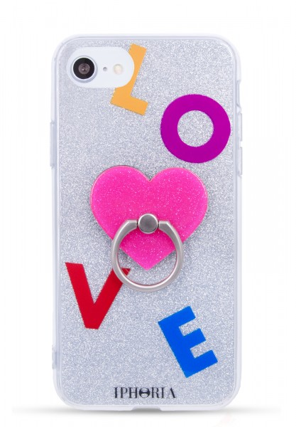 Case for Apple iPhone 7/8  - Ring Silver Glitter Pink Heart - 1