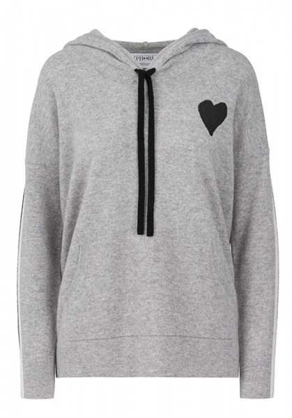 Cashmere Hoody - Grey with Small Heart - Size 2