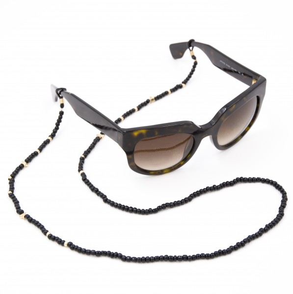 Sunglasses Strap Pearls - Black with Gold 1