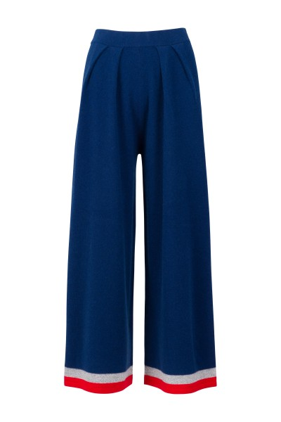 100% Cashmere Palazzo Pants - Blue Striped Details - Size 1 1