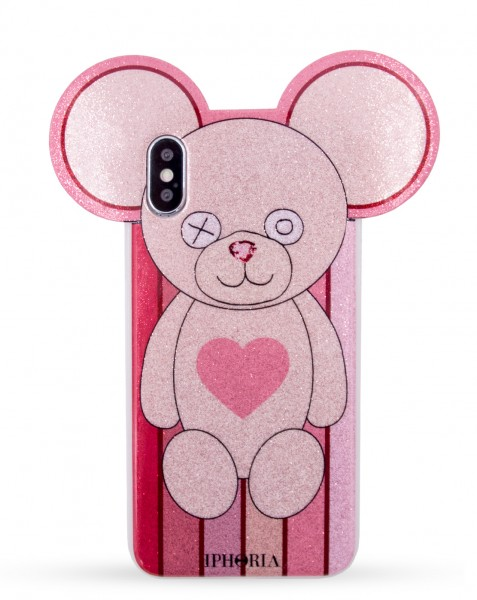Case for Apple iPhone X/Xs - Teddy Glitter Stripes with Heart 1