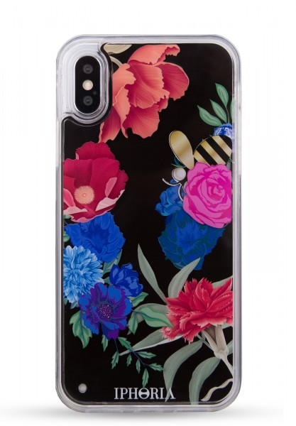 Liquid Case for Apple iPhone X/XS - Dark Flowers With Bee 1