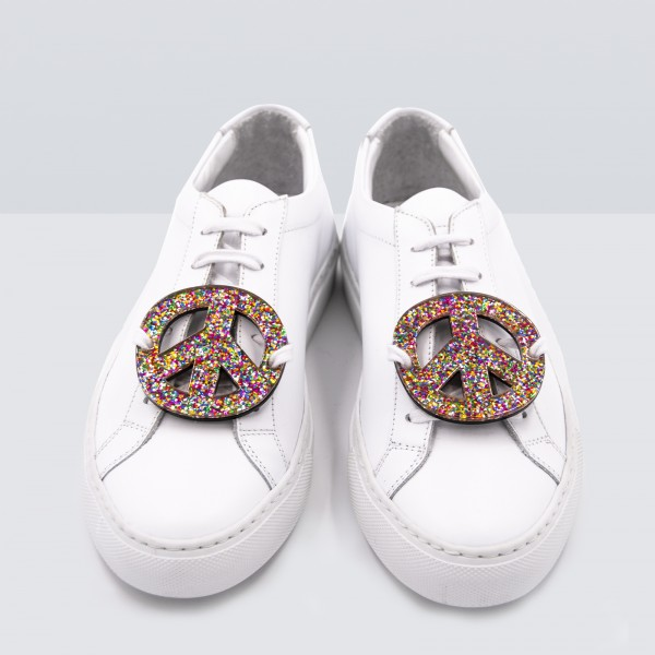 Acryl Sneaker Patches - Peace Sign Glitter Multicolor 1