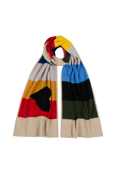 100% Cashmere Scarf - Multicolor Heart 1