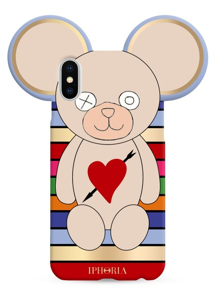 Case for Apple iPhone X - Teddy with Heart and Arrow Multicolor Stripes 1
