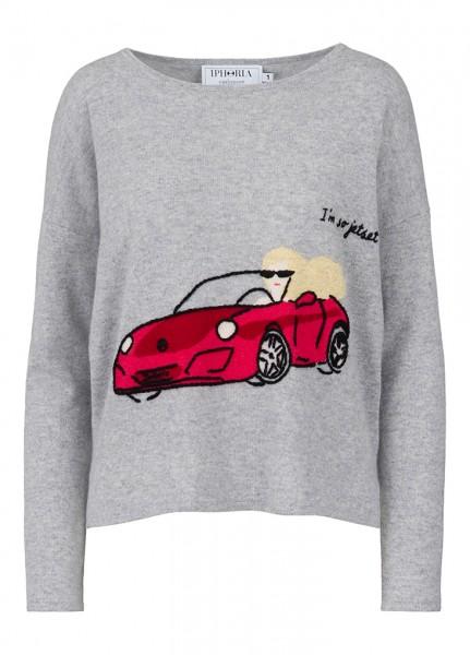 100% Cashmere Boxy Sweater - I'm So Jetset Car - Size 2 1