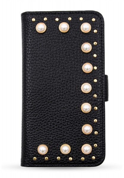 on sale 12a2a ef45f Bookcase for Apple iPhone X/XS - Black with Pearls and Studs