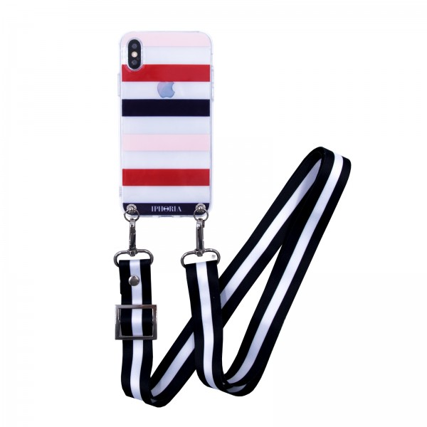 Necklace Case for Apple iPhone X/XS with Black/White Strap - French Stripes 1