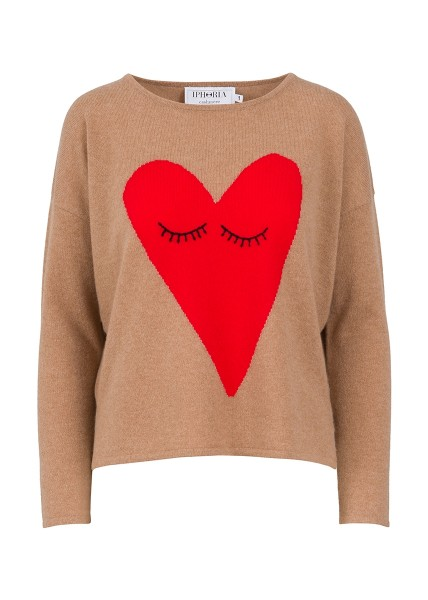 Cashmere Boxy Sweater - Brown Heart With Eyes Size 2 1