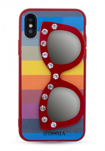 3D Case For Apple iPhone X/Xs - Rainbow Diamonds  With Glasses - 1