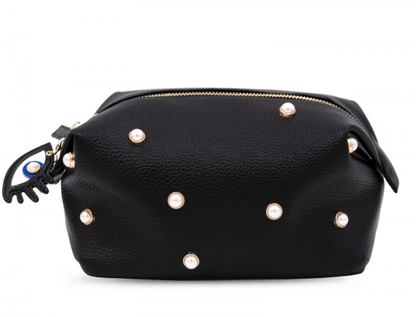 Washbag - Pearl Black with Eyes Charm 1
