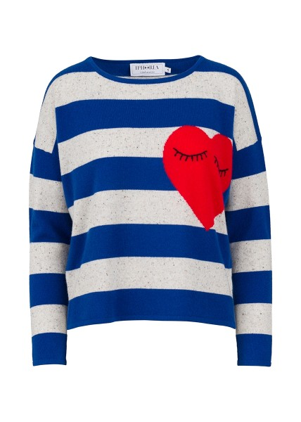 Cashmere Boxy Sweater - Blue Stripes Small Heart Size 2 1