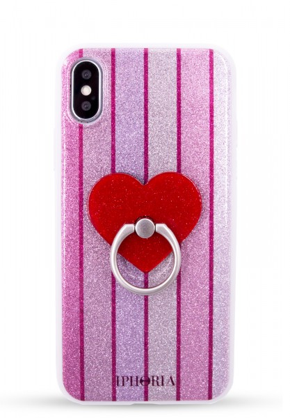 Case for Apple iPhone X/XS - Red Heart with Glitter Stripes 1