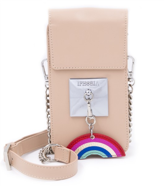 Micro Shoulder Bag Vertical with Bag Holder - Plate Nude with Charm 1