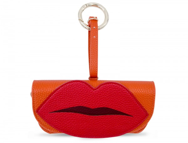 Glasses Case with Bag Holder - Orange with Lips 1