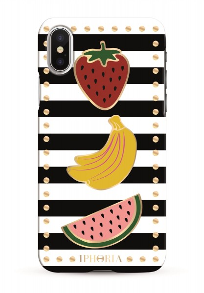Case for Apple iPhone X/XS - Stripes Black and White with Fruits 1