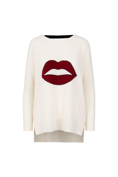 100% Cashmere Oversized Jumper - White with Red Lips - Size 2 1
