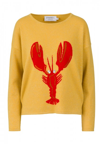 Cashmere Boxy Sweater - Yellow Gliitter and Lobster - Size 1 1