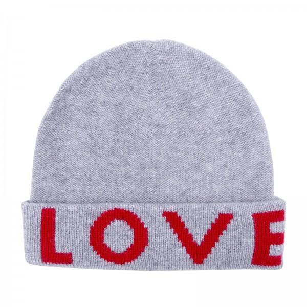100% Cashmere Beanie - Grey Love 1