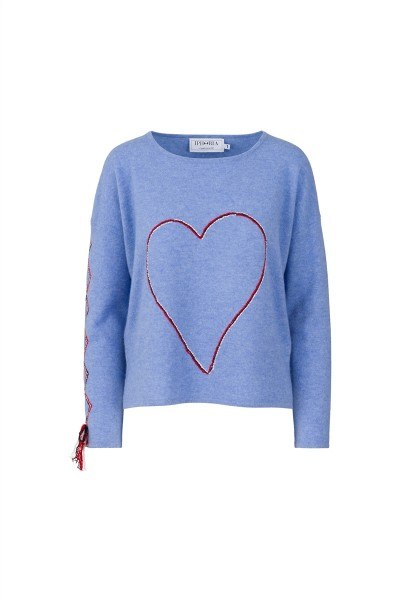 Cashmere Boxy Sweater - Blue with Heart and Stitching - Size 1 1