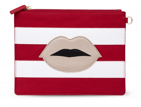 Document Pouch - Stripes Red and White with Lips 1